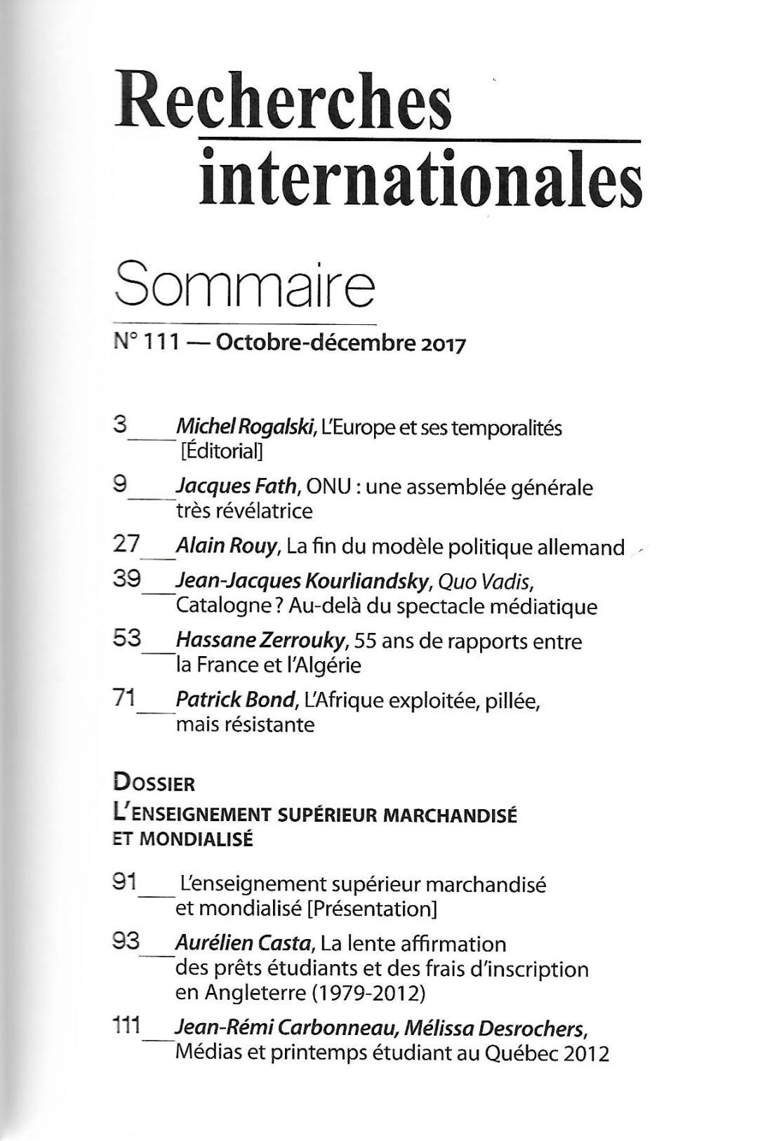 RI 111 (2) Sommaire