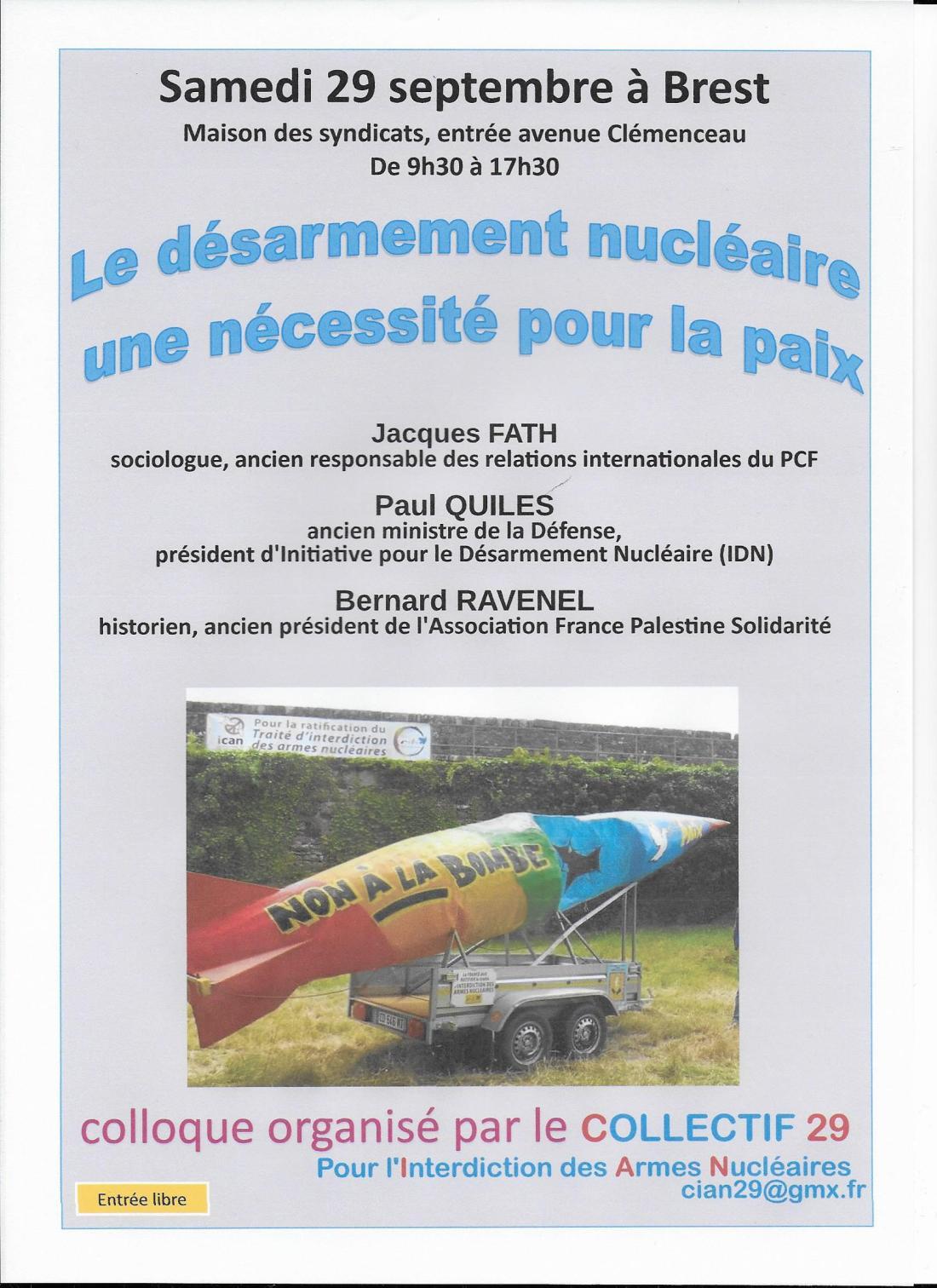 Brest Colloque interdiction des armes nucléaires 29 09 18