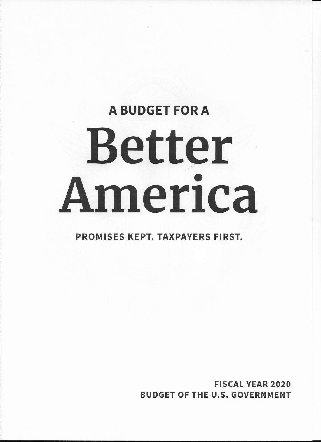 Trump Budget 2020